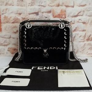 Fendi Kan I Small Velvet Shoulder Bag